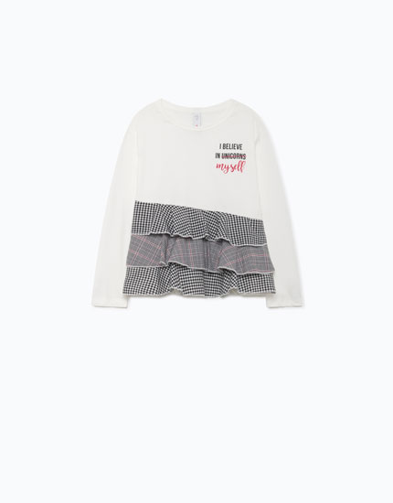 T-SHIRT WITH CHECKED RUFFLES