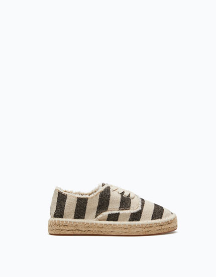 LACE-UP ESPADRILLES WITH STRIPED UPPER