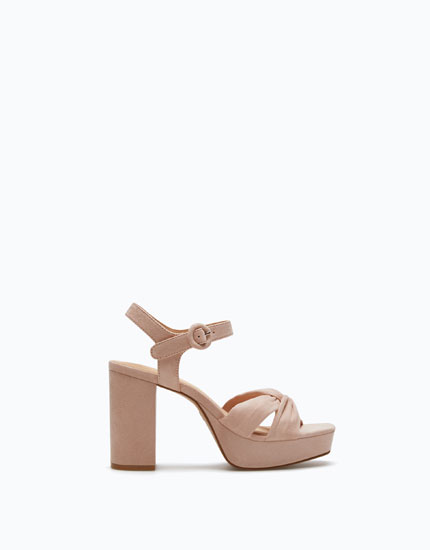 HIGH HEEL PLATFORM SANDALS WITH KNOT ON THE UPPER