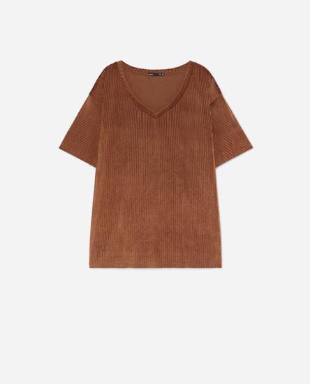 Camiseta terciopelo plisado