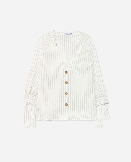 Camisa efecto lino manga lazada