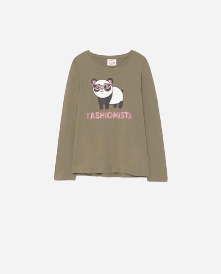Camiseta print animales glitter