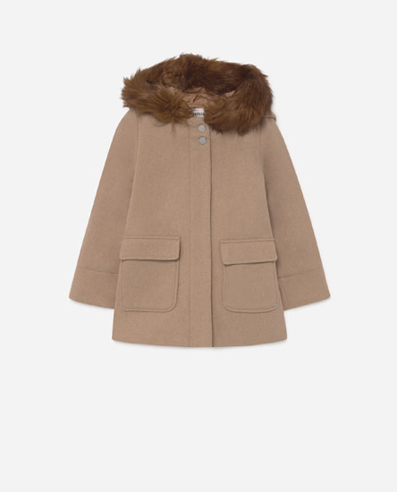 Coat with faux fur hood