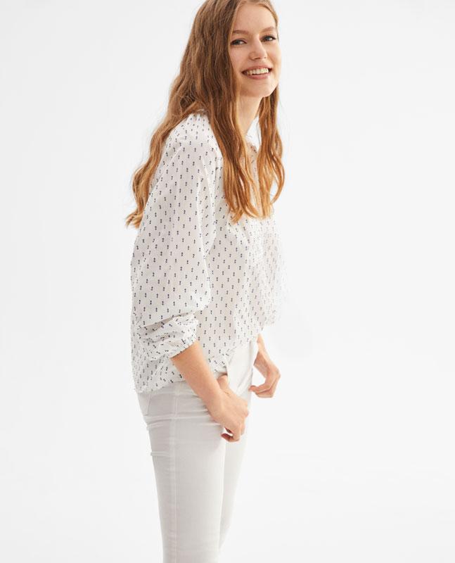 94198df80 Lefties - blusa de plumeti - cru azul-marinho - 01904339-V2019