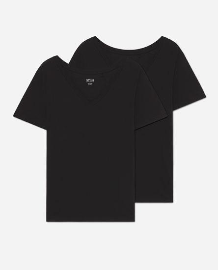 Pack 2 camisetas cuello pico