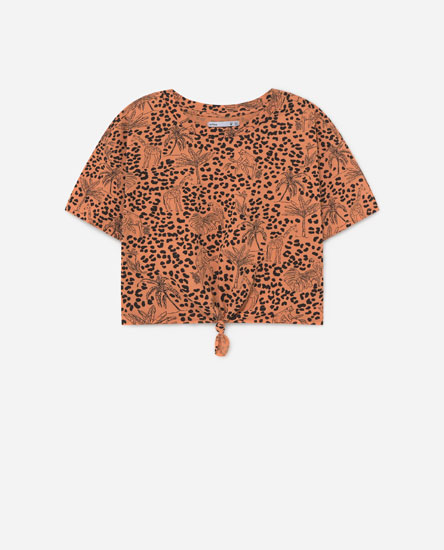 Camiseta cropped estampada