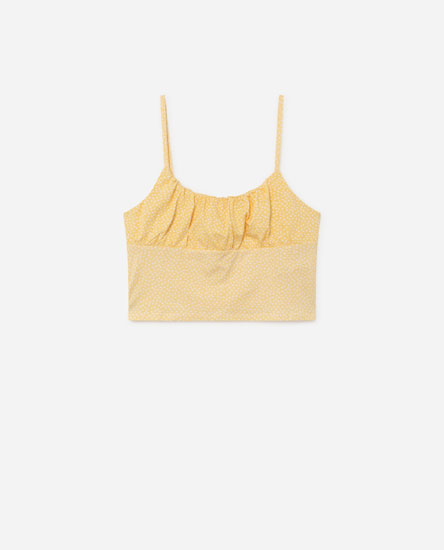 Top with gathered neckline