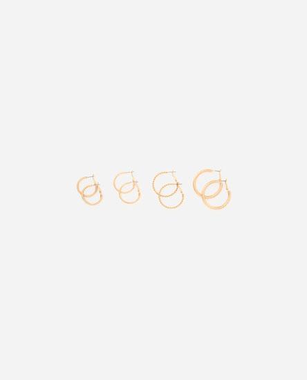 Pack of textured metallic hoop earrings