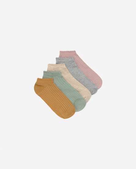 5-pack of ribbed ankle socks