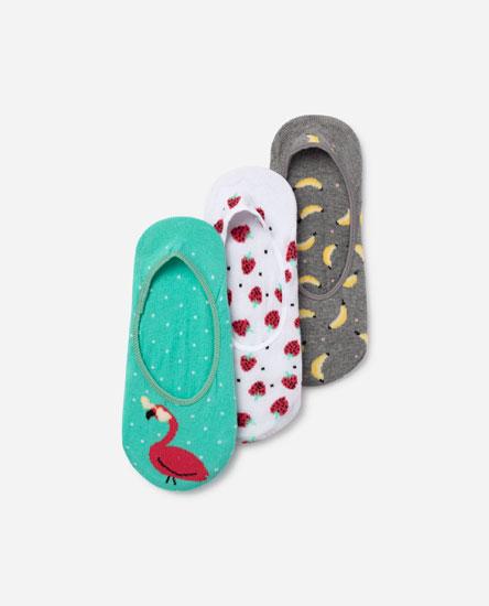 Набор из 3 пар носков-следков с принтом