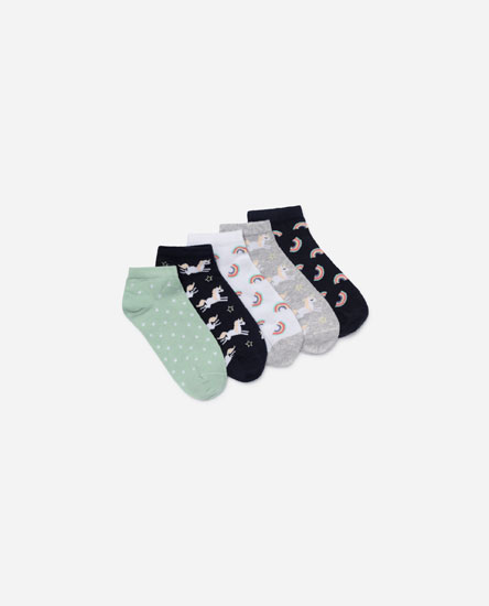5-Pack of printed ankle socks.