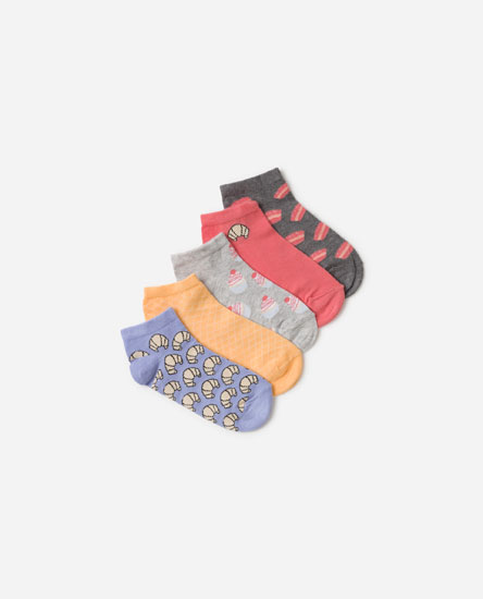 5-pack of printed ankle socks.