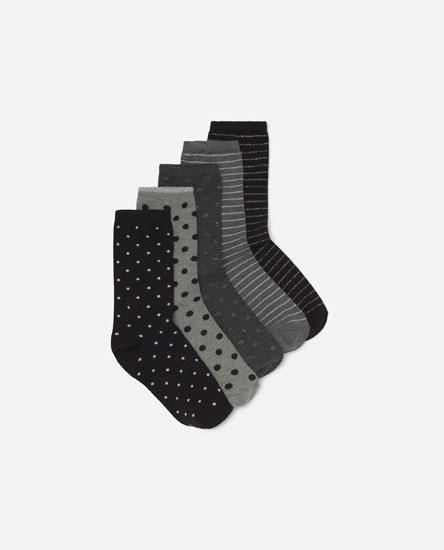 Pack of 5 pairs of long printed socks