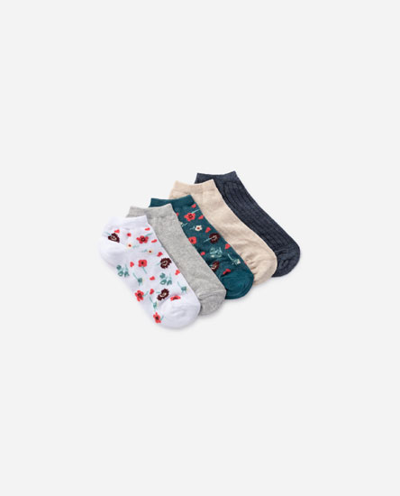 5-pack of floral print socks