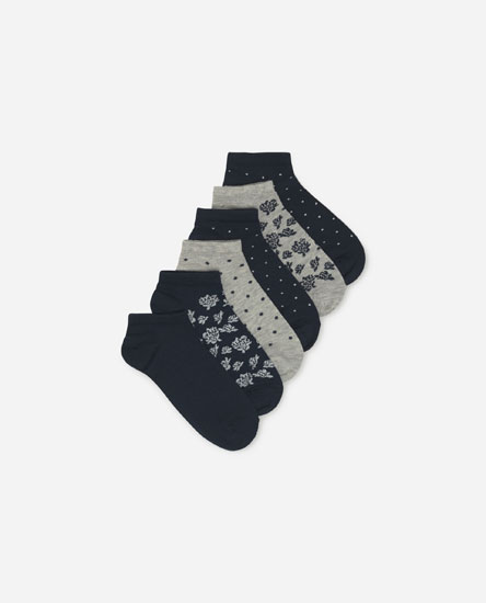 5-pack of printed ankle socks