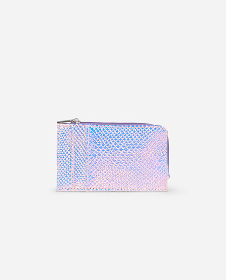 Iridescent animal print card holder