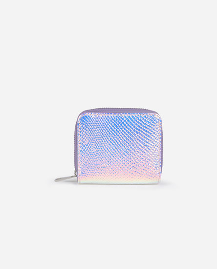 Iridescent purse with animal print