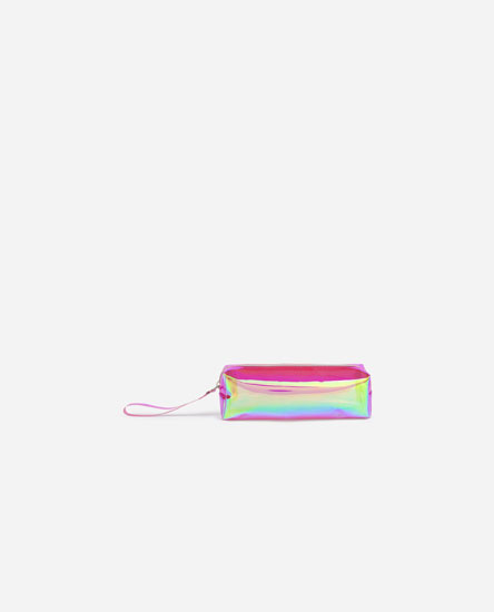 Transparent iridescent toiletry bag