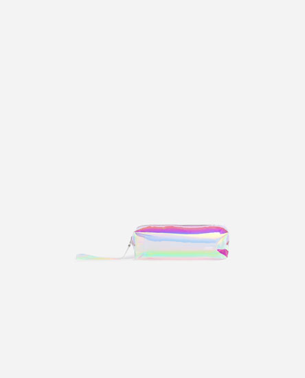 Transparent metallic effect toiletry bag