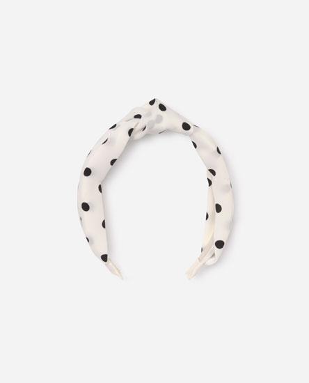 Polka dot headband with knot