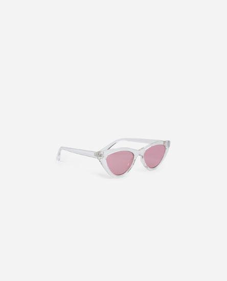 Óculos cat eye transparentes