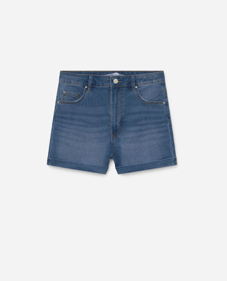 High waist basic denim shorts