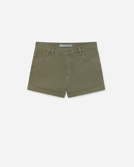 Pantalón curto denim cor