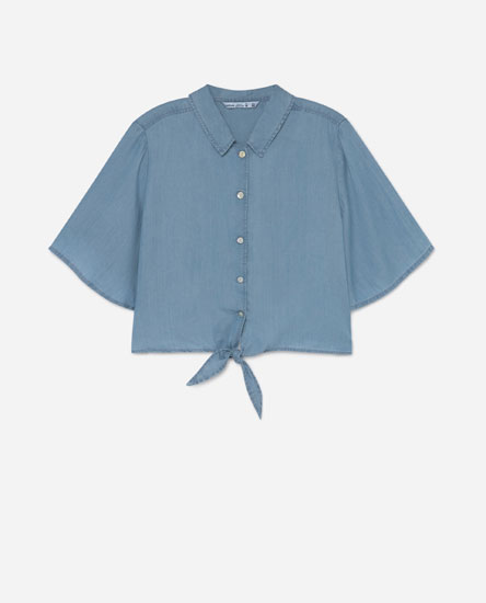 Camisa cropped denim