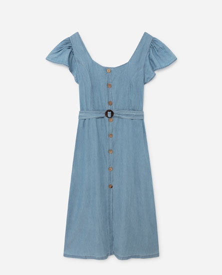 Midi dress with ruffled sleeves