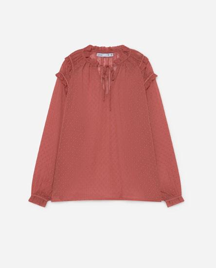Buttonless dotted mesh shirt