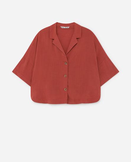 Cropped lapel collar shirt