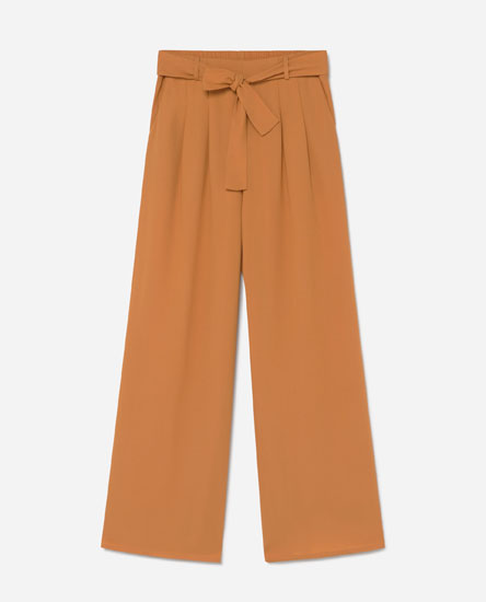 Wide-leg trousers with tie belt