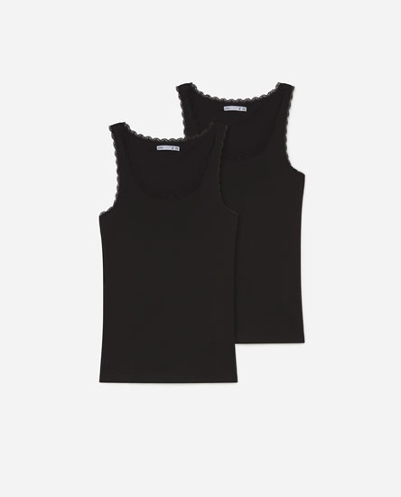 Pack of 2 basic lace-trimmed vest tops