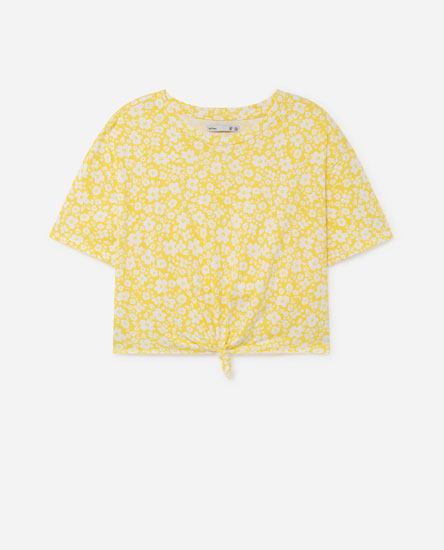T-shirt cropped estampada