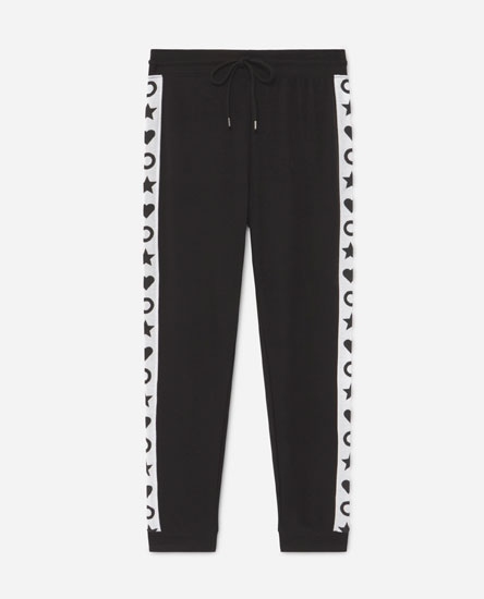 Plush trousers with printed side stripe