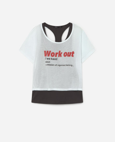 Double-layer sporty T-shirt