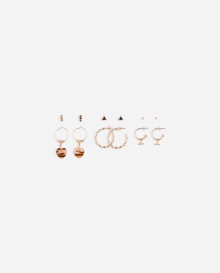 6-Pack of earrings and small tortoiseshell hoop earrings