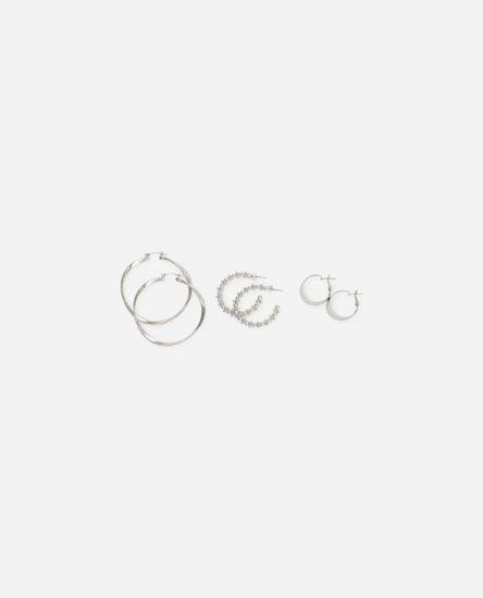 3-Pack of hoop earrings