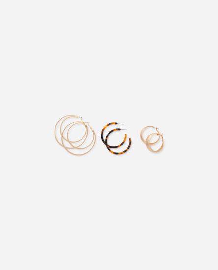 3-Pack of hoop earrings with irregular tortoiseshell
