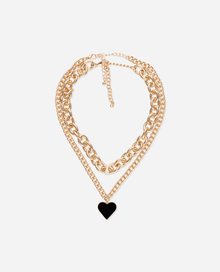 Multilayer thick chain with black heart