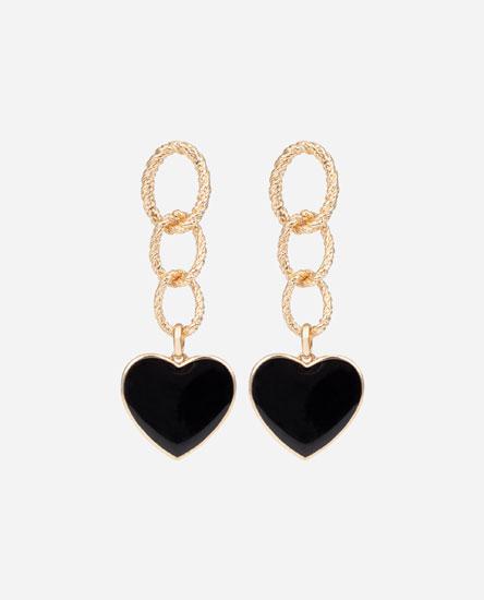 Chain earrings with black heart