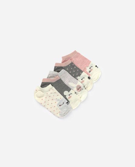 Pack of 5 embellished print socks