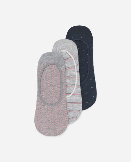 3-Pack of printed no-show socks
