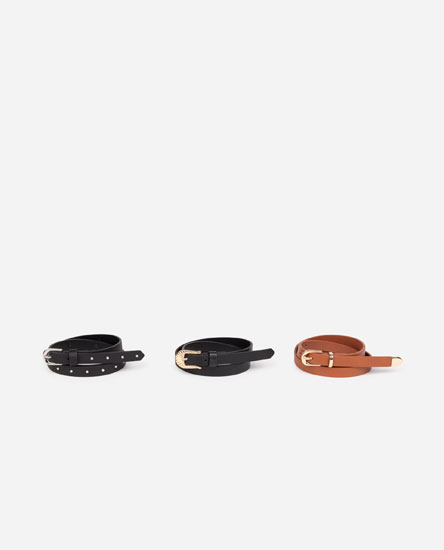Pack of 3 faux leather belts