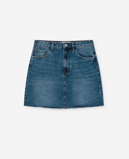 Short denim skirt