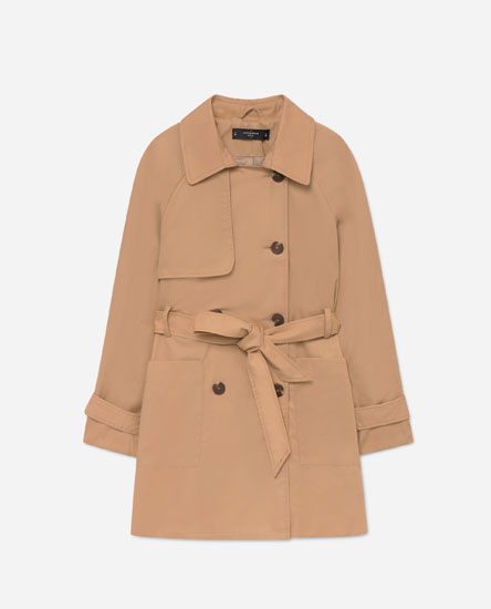 Tied trench coat