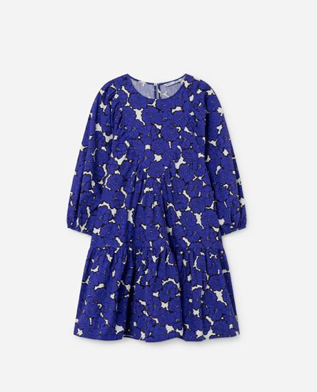 Short gathered poplin dress
