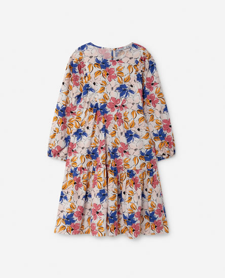 Short gathered poplin dress