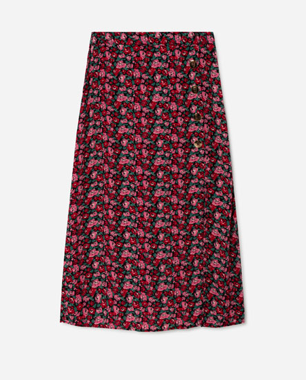 Midi skirt with gold-coloured buttons