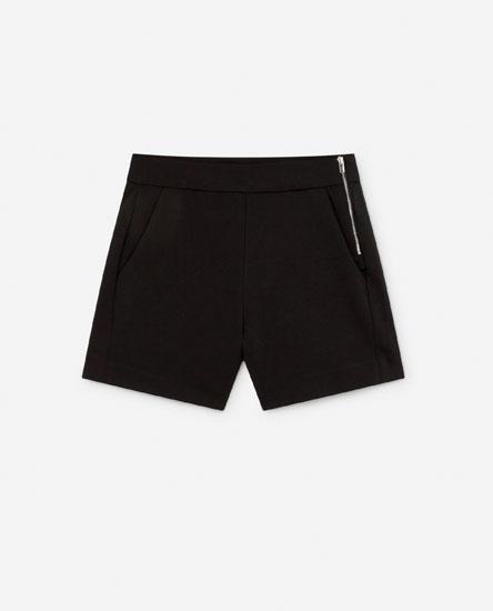 High-waist chino shorts